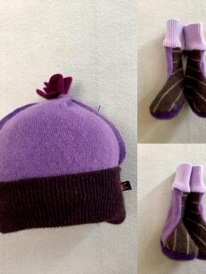BABY HAT & BOOTIES SET - Purple and Brown Stripe