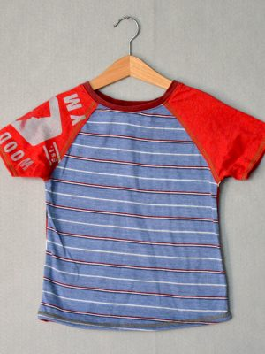 Blue & Red Stripe Go Kiddo Tee - M