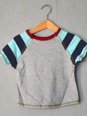 Gray & Blue Stripes Go Kiddo Tee - S
