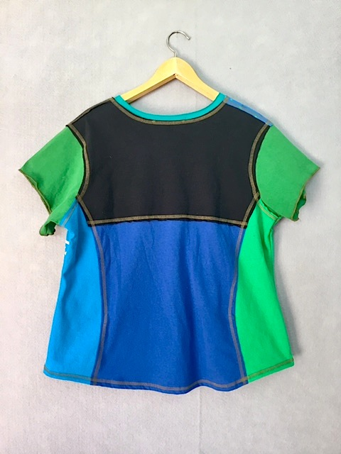 Blue Green Lily Pad V-neck Short Sleeve XL