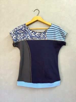Blue Paisley Stripe Block Party Top NEW STYLE! - M