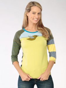 Blue and Green Stripe Go Betty 3/4 Sleeve Tee - S