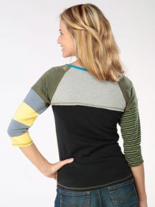 Blue and Green Stripe Go Betty 3/4 Sleeve Tee - S