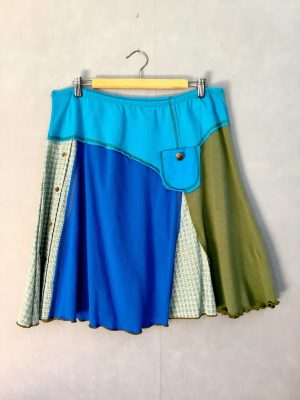 Green and Blue Plaid OFFICE SKIRT - L