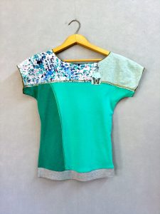 Teal Butterfly Block Party Top NEW STYLE! - S