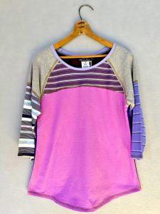 Pink Stripe Go Betty 3/4 Sleeve Tee - M