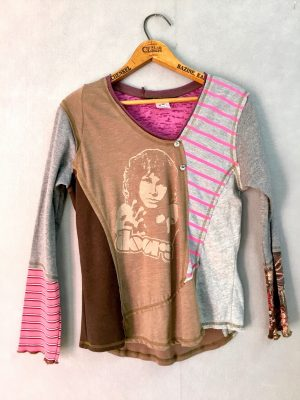 Doors Pink Stripe BUTTON VNECK - M