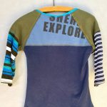 Blue and Army Green Stripe Go Betty 3/4 Sleeve Tee - XS