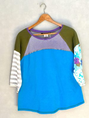Blue and Green Floral Go Betty 3/4 Sleeve Tee - L