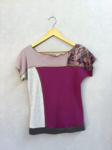 Purple Paisely & Stripe Block Party Top NEW STYLE! - S