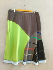 GRAY AND HOT GREEN 8 Piece Skirt - XL