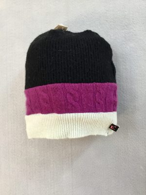 CASHMERE KIDDO SLOUCH HAT - black, pink, white