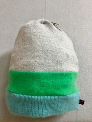 CASHMERE SLOUCH HAT - blue, green, gray stripe