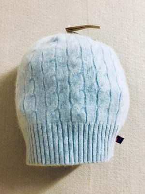 CASHMERE SLOUCH HAT - light blue
