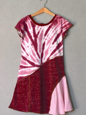 Maroon Tie Dye Girls Dress - L