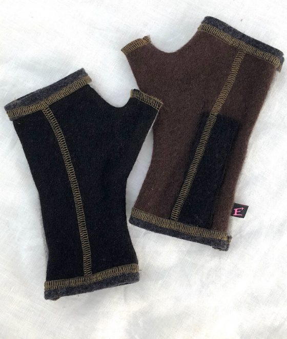 CASHMERE (CM) GLOVES - black/brown