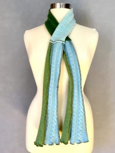Light Blue and Green Cashmere Trumpet Scarf